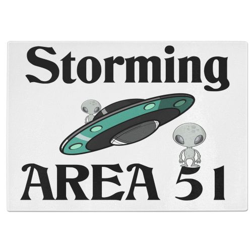Storming Area 51 Funny Alien UFO  Funny Tempered Glass Chopping Board